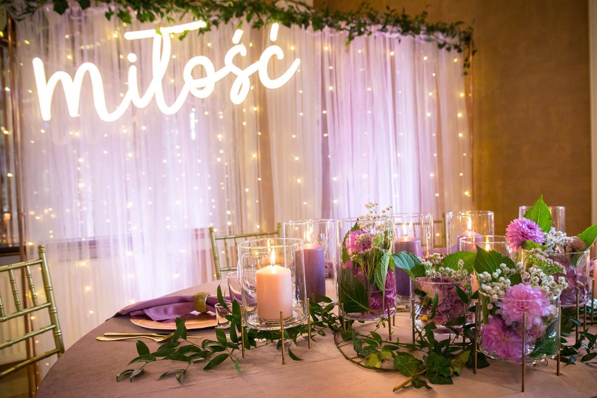 Ozdobiona sala podczas wesele w Hotelach Diament